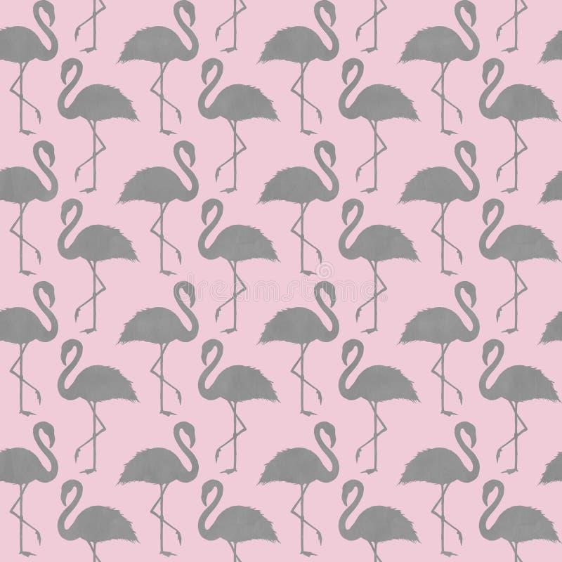 In roze en grijs flamingo naadloos patroon royalty-vrije stock afbeeldingen
