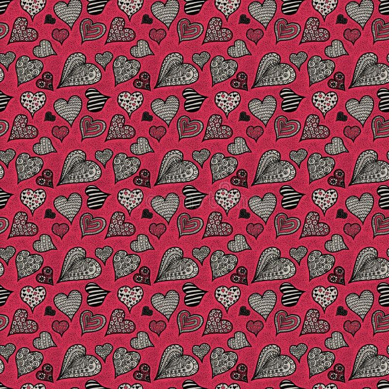 Roze en grijze harten Naadloos patroon stock foto's