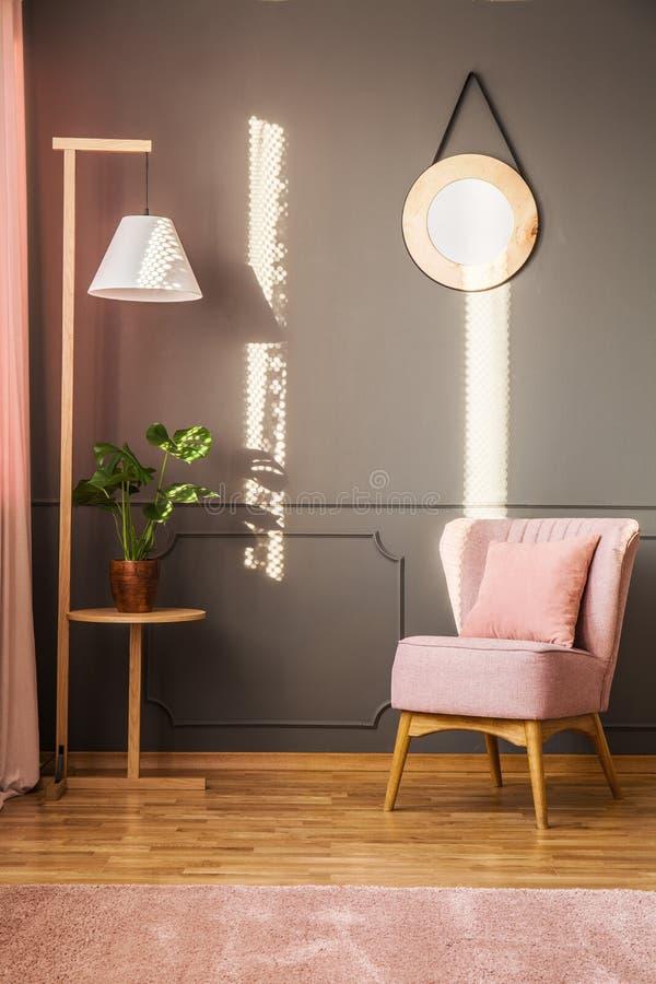 Roze en grijze woonkamer stock foto. Afbeelding bestaande uit living ...
