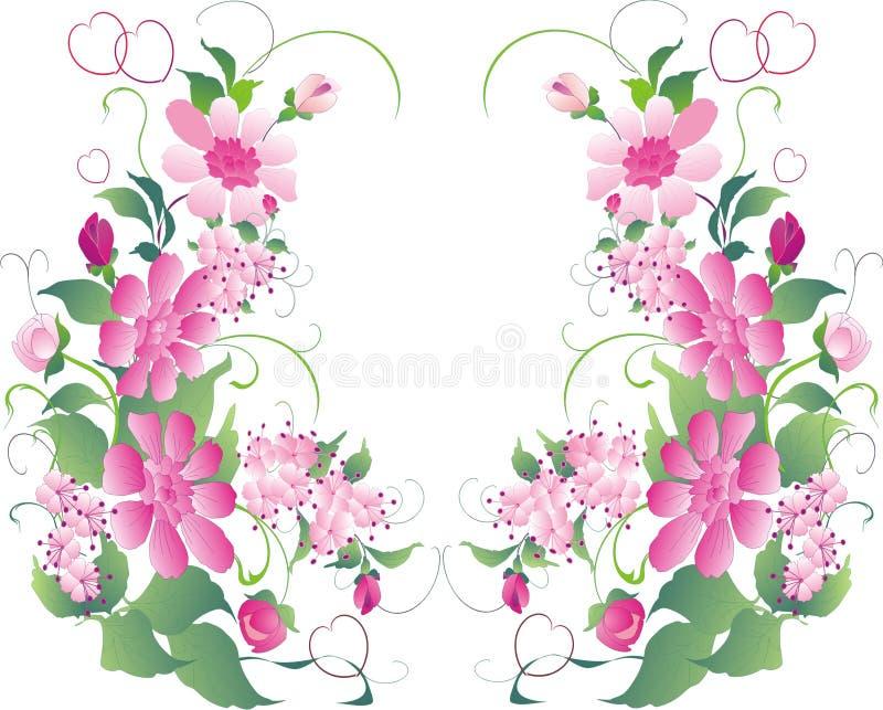 Roze en groen bloemornament vector illustratie