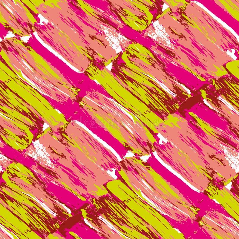 Roze en groen kwaststreek naadloos patroon royalty-vrije illustratie