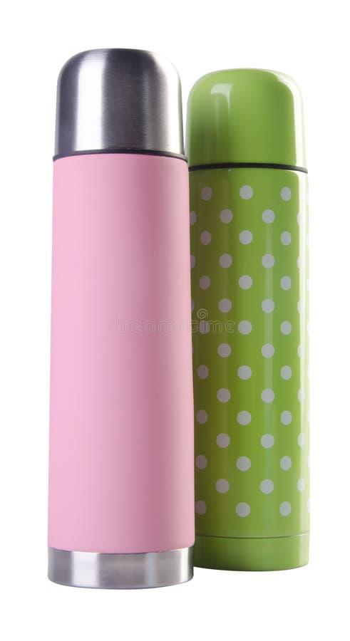 Roze en groene het staal thermofles van kleurenstainlees royalty-vrije stock foto