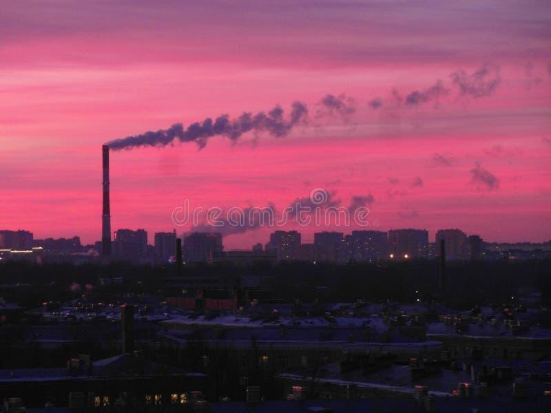 Roze en koude zonsondergang stock afbeeldingen