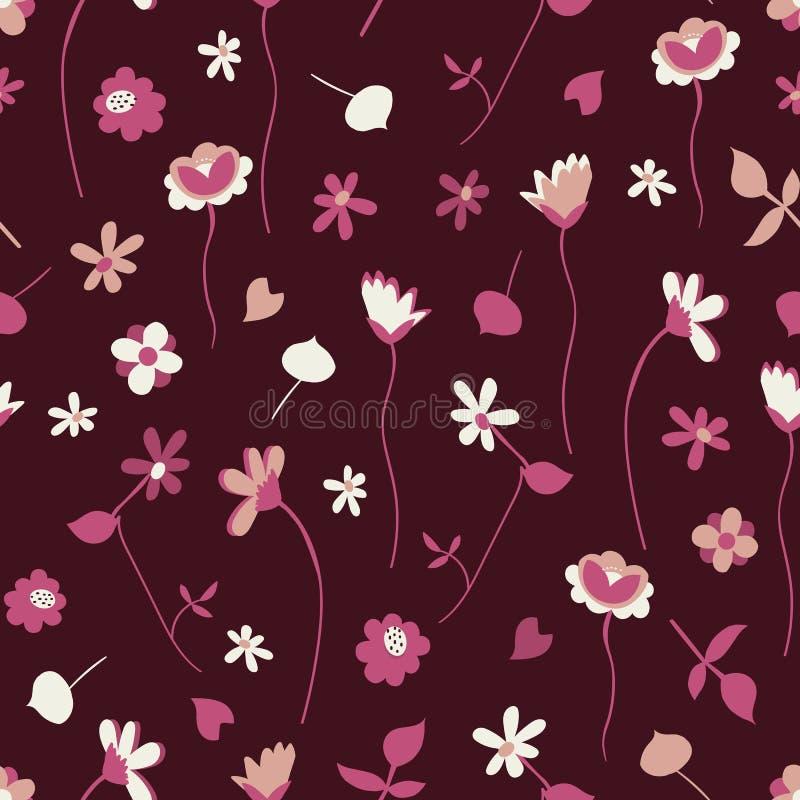 Roze en Peach Wildbloemen met Daisies Seamless Pattern met Bourgundy Background royalty-vrije stock fotografie