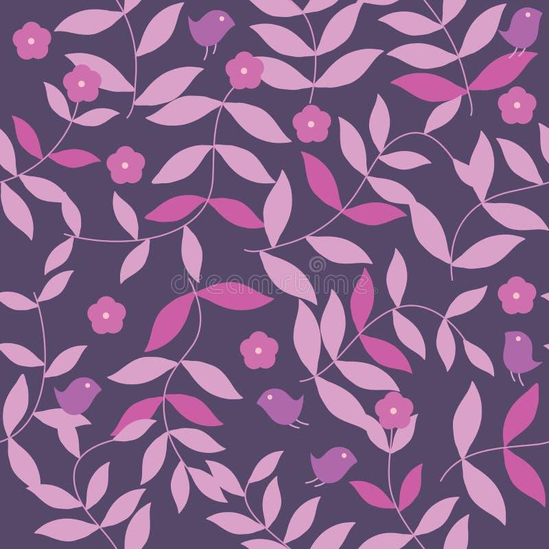 Roze en Purpere Bladeren Naadloze Pattern_eps vector illustratie