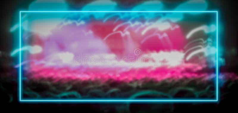 Roze en turkoois neonlichtkader met menigte bij festivaloverleg vector illustratie