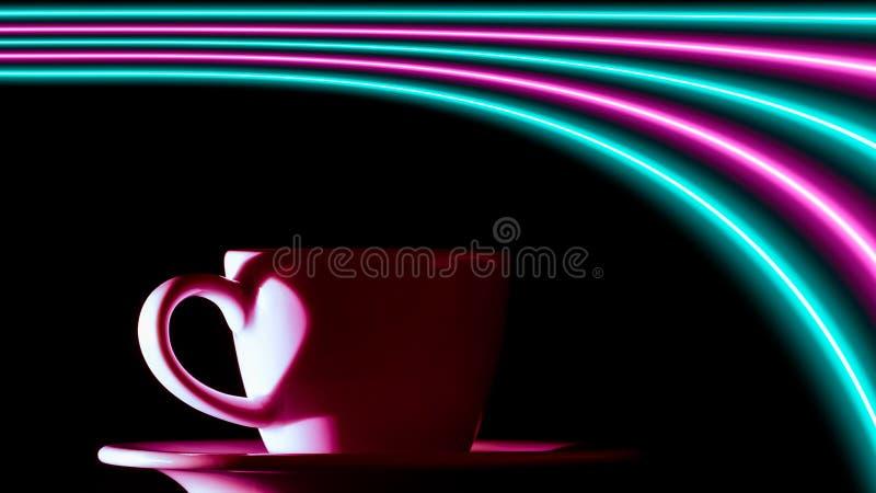 Roze en turkooise neonlichten meer dan een kop van koffie royalty-vrije illustratie