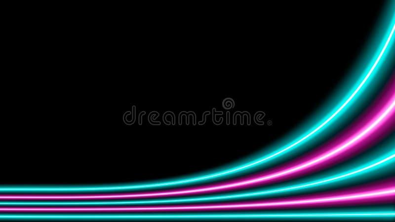 Roze en turkooise neonlichten met veel exemplaarruimte stock illustratie