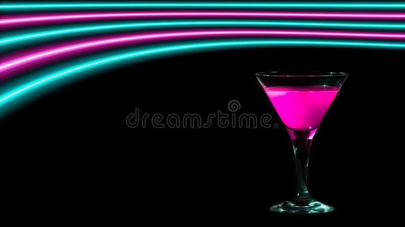 Roze en turkooise neonlichten over een cocktail het drinken glas royalty-vrije illustratie