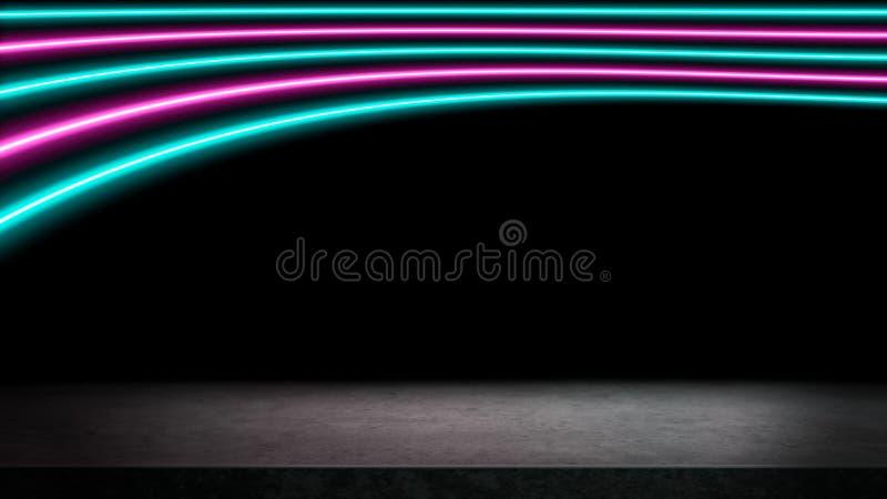 Roze en turkooise neonlichtenachtergrond stock illustratie