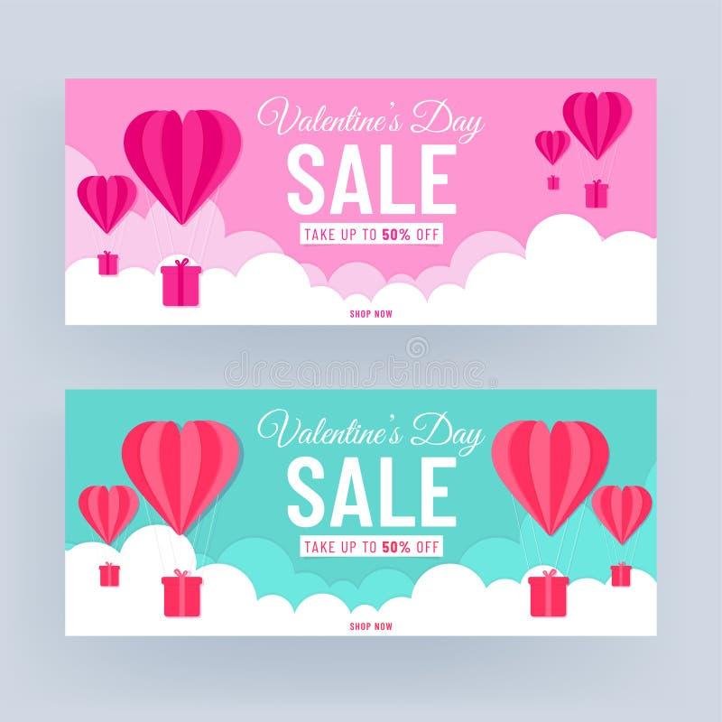 Roze en Turquoise Header of het Ontwerp van de Banner met de Aanbieding van de Korting van 50% en de Schrapping van het Hart van  stock illustratie