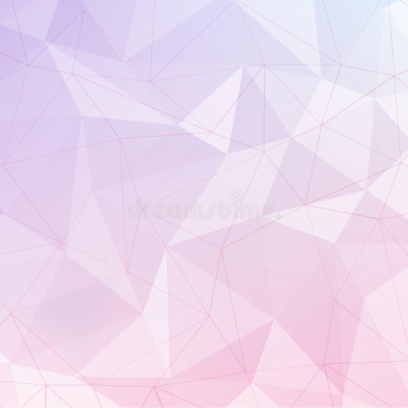 Roze en violette veelhoek geometrische samenvatting baclground met lijn stock illustratie
