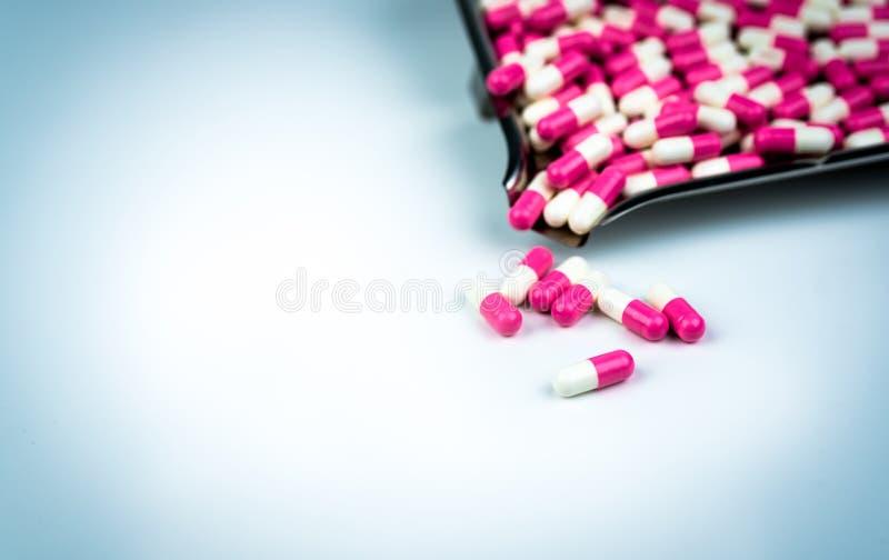 Roze en wit antibiotisch capsulepillen en drugdienblad op witte achtergrond globaal gezondheidszorgconcept De weerstand van de an stock foto's