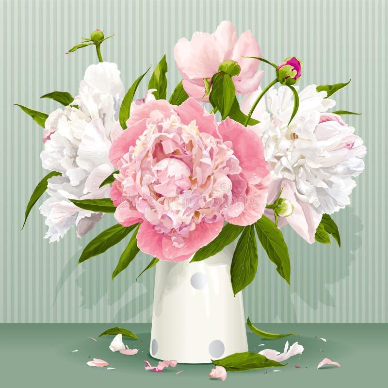 Roze en wit pioenboeket stock illustratie