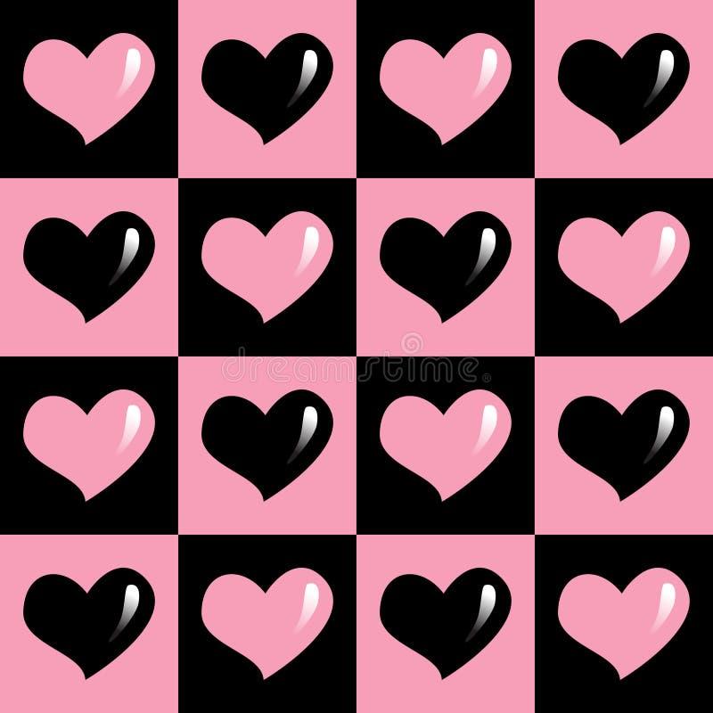 Roze en zwart naadloos patroon van harten royalty-vrije stock afbeelding