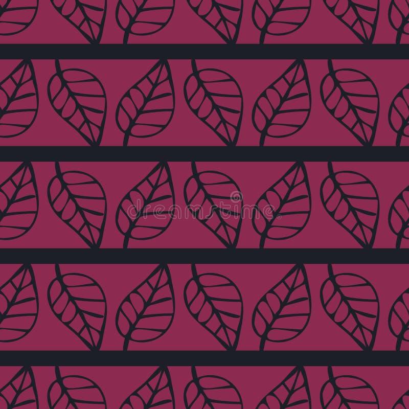 Roze en zwart strepen naadloos vectorpatroon met bladeren stock illustratie