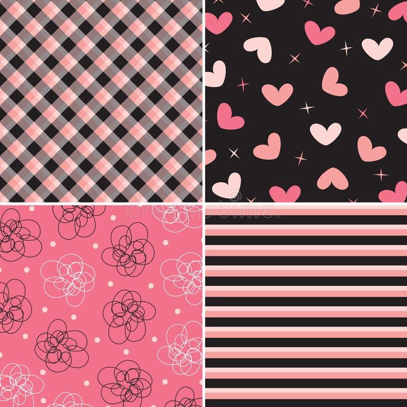 Roze en zwarte patrooncombo stock illustratie