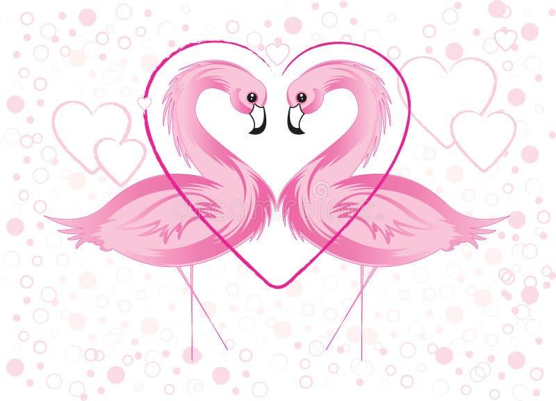 Roze Flamingo en Harten stock illustratie