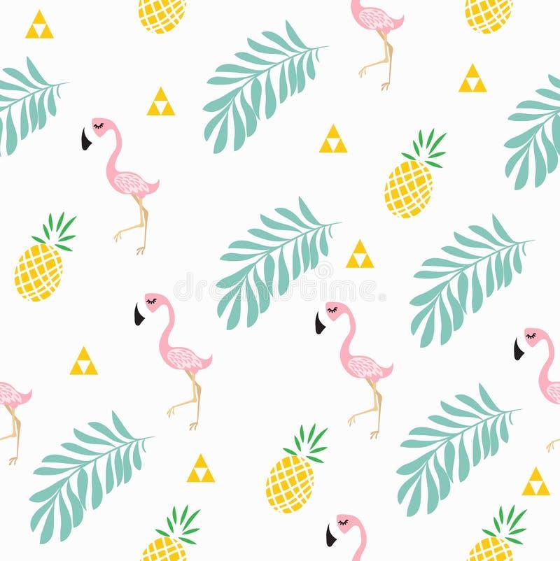 Roze flamingo tropisch patroon royalty-vrije illustratie