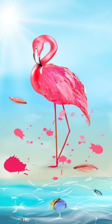 Roze flamingo, waterverfplonsen royalty-vrije illustratie