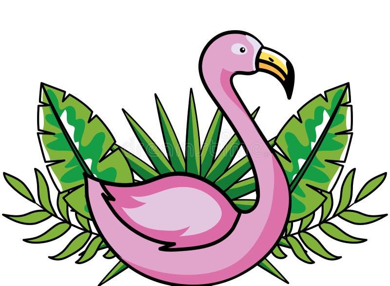 Roze flamingobeeldverhaal vector illustratie