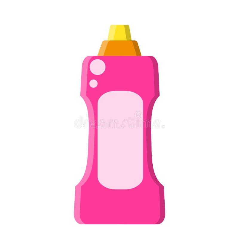 Roze fles met vloeibare reinigingsmachine in vlakke stijl op wit, voorraad vectorillustratie stock illustratie