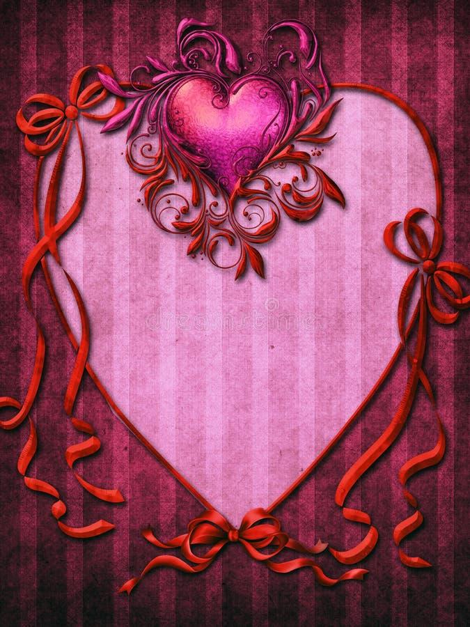 Roze frame met rode linten stock illustratie