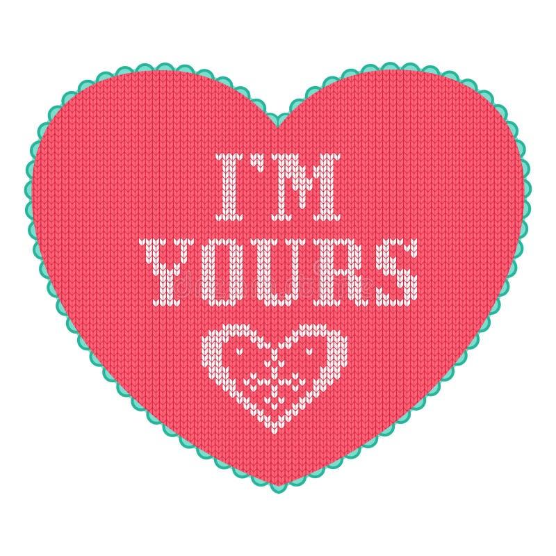 Roze gebreid hart met de groetkaart van de liefdetekst vector illustratie