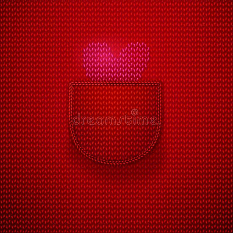 Roze gebreid hart in rode zak stock illustratie