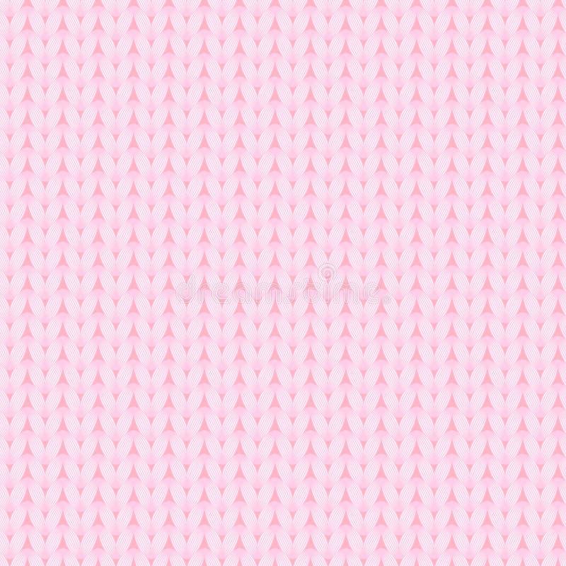 Roze gebreid stoffen naadloos patroon, vector stock illustratie