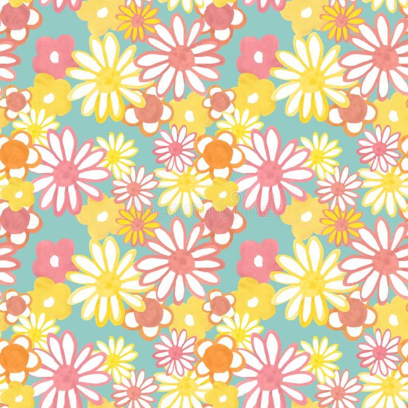 Roze, geel en oranje bloemen naadloos patroon op blauwe achtergrond In Boheems uitstekend patroon in jaren '60stijl Flower power vector illustratie