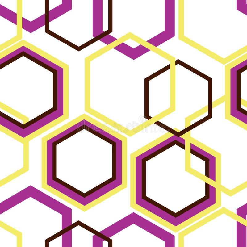 Roze, gele en bruine ruiten op witte achtergrond stock illustratie