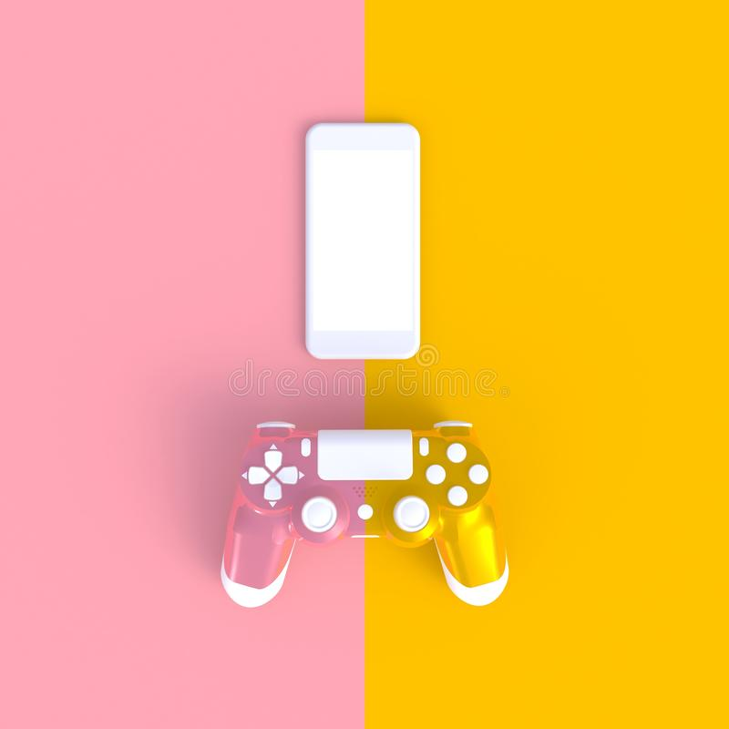 Roze gele joystick met smartphone op roze gele tabelachtergrond, computerspelwedstrijd, gameconcept royalty-vrije illustratie