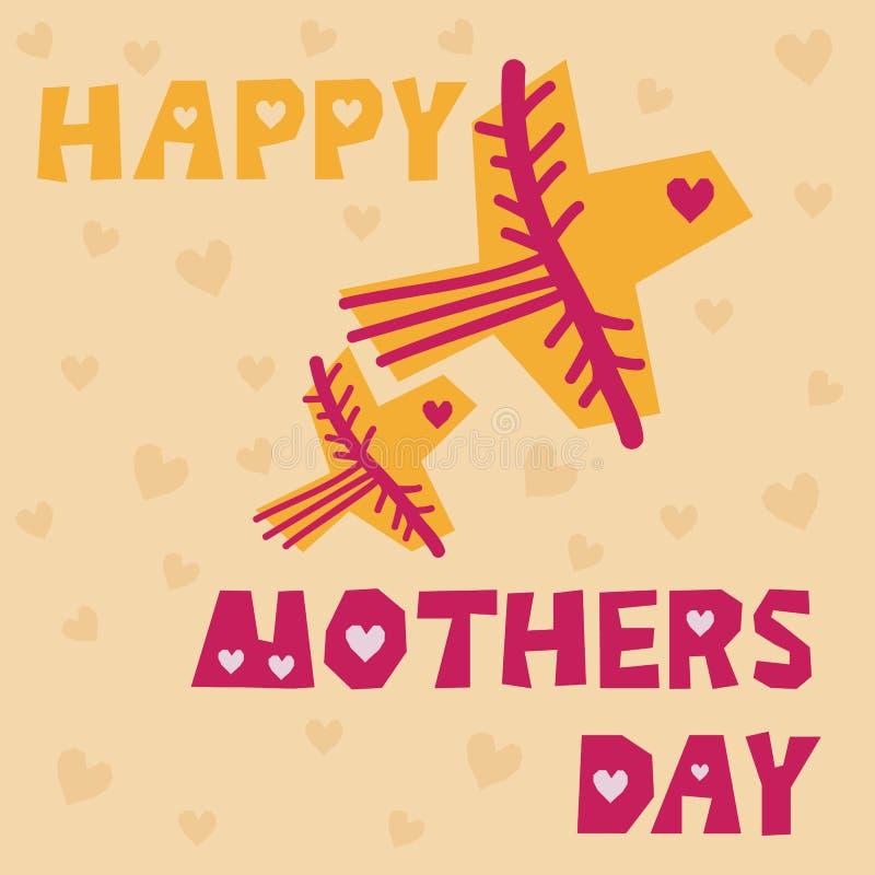 Roze-gele vogels en tekst op lichte achtergrond - het vector Gelukkige beeld van de moedersdag Het malplaatje van de handtekening stock illustratie