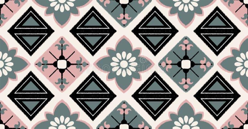 Roze geometrisch naadloos patroon in Afrikaanse stijl Vectorillustratiegebruik voor ikatpatroon, behang en wijnoogst stock afbeelding