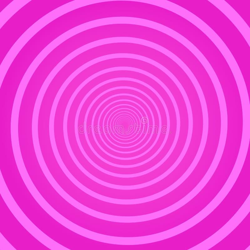 Roze geometrische psychedelische vierkante achtergrond met cirkel roterende werveling, schroef of draaikolk Achtergrond met ronde vector illustratie