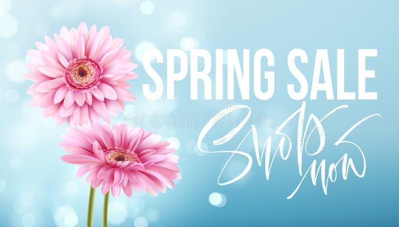 Roze gerberamadeliefjes op een blauwe bokehachtergrond De lenteverkoop het van letters voorzien Vector illustratie stock illustratie