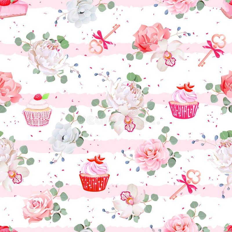 Roze gestreept naadloos vectorpatroon met verse gebakjes, boeketten van bloemen en sleutels met rode bogen vector illustratie