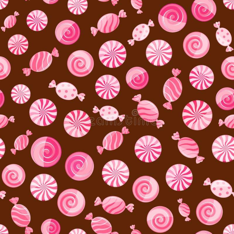 Roze gestreept suikergoed naadloos patroon stock illustratie
