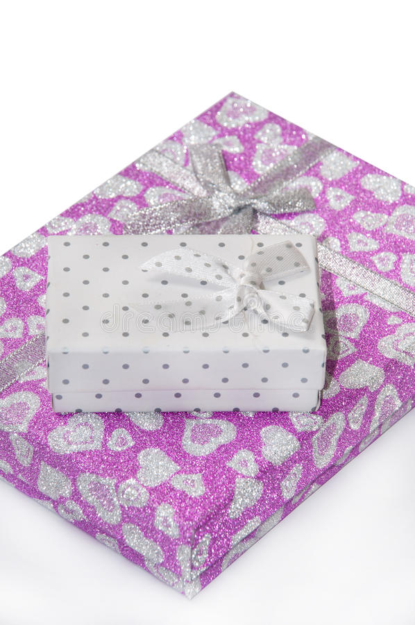 Roze giftdoos met boog royalty-vrije stock afbeeldingen