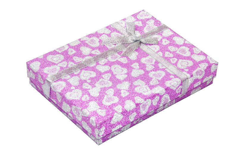 Roze giftdoos met boog stock afbeelding