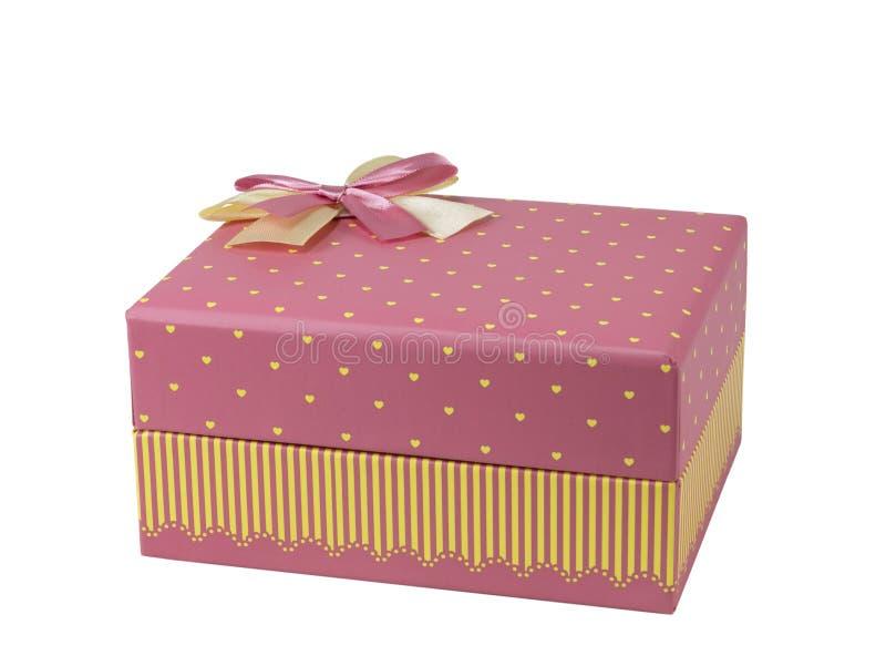 Roze giftdoos met roze lintboog, stock foto