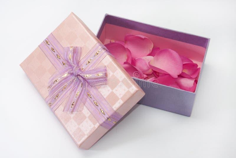 Roze giftdoos met roze roze bloemblaadjes stock fotografie