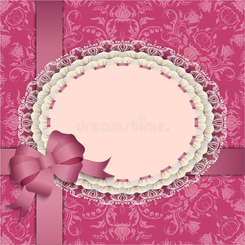 Roze giftkaart met kant, linten, zijdeboog royalty-vrije illustratie
