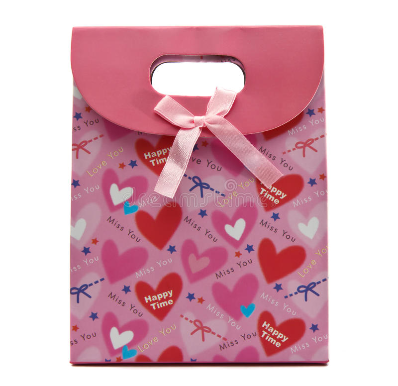 Roze giftzak royalty-vrije stock afbeelding