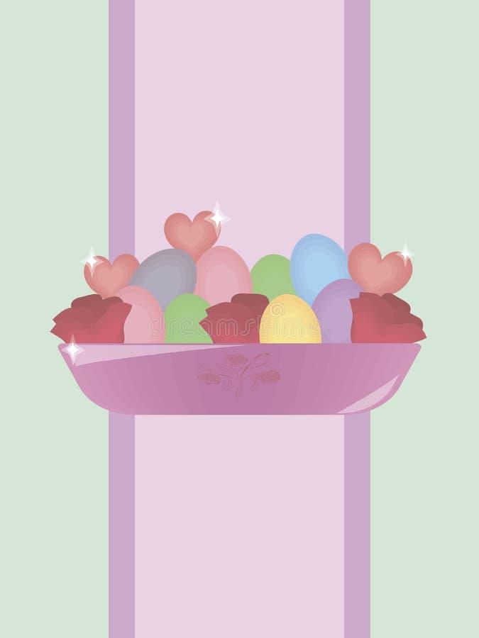 Roze glanzende komvaas met multicolored eieren van Pasen, rode rozen en harten op een achtergrond van een purpere strepenweg op e stock illustratie
