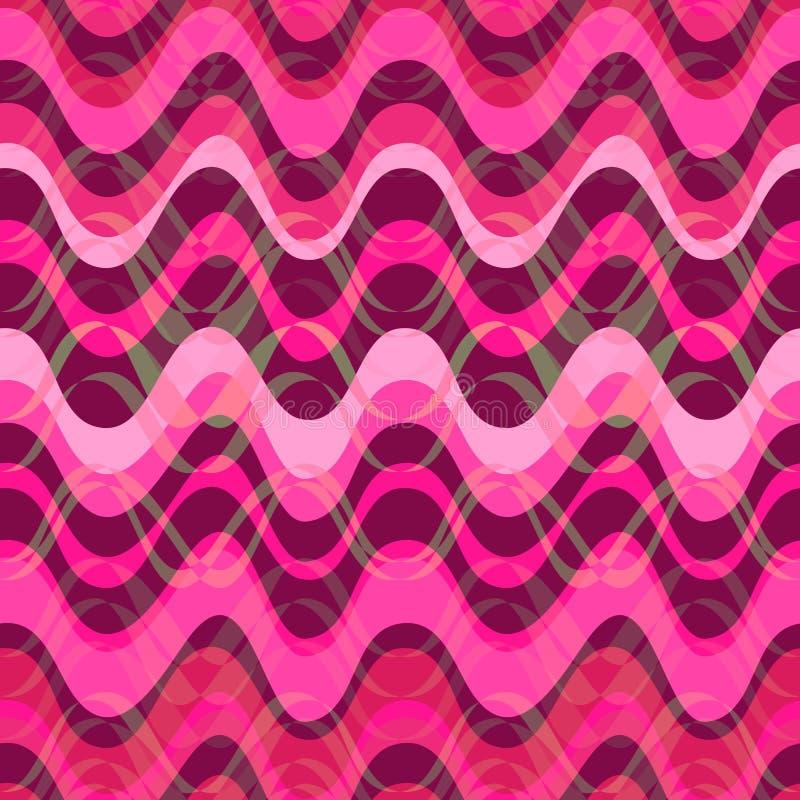 Roze golvend strepenpatroon Horizontale curvy lijnen Illustratie vector illustratie
