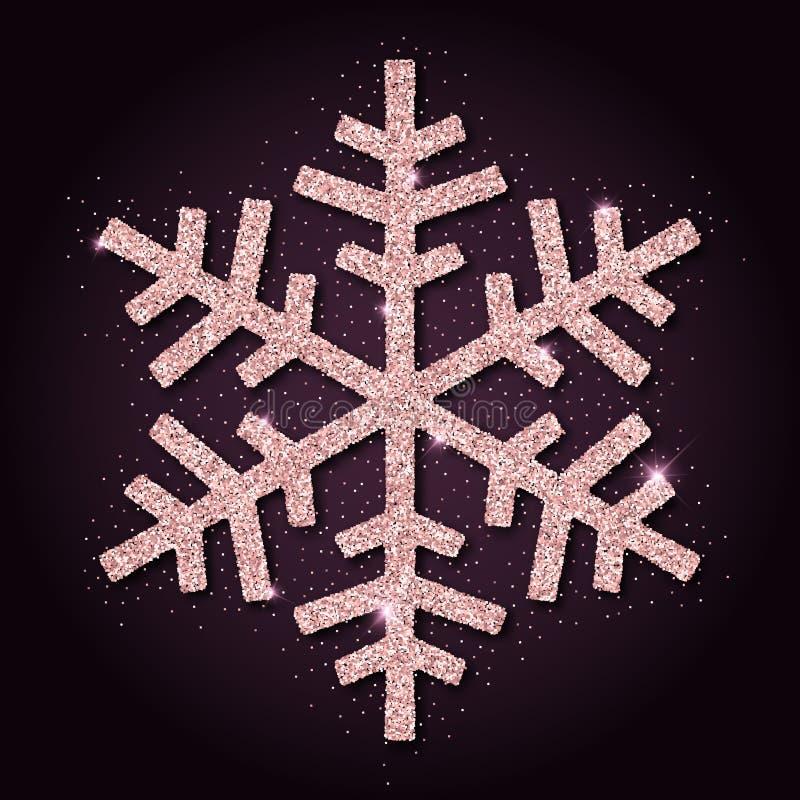 Roze gouden schittert beauteous sneeuwvlok vector illustratie