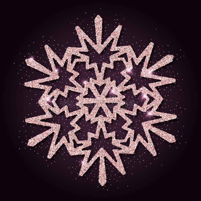 Roze gouden schittert bevallige sneeuwvlok royalty-vrije illustratie