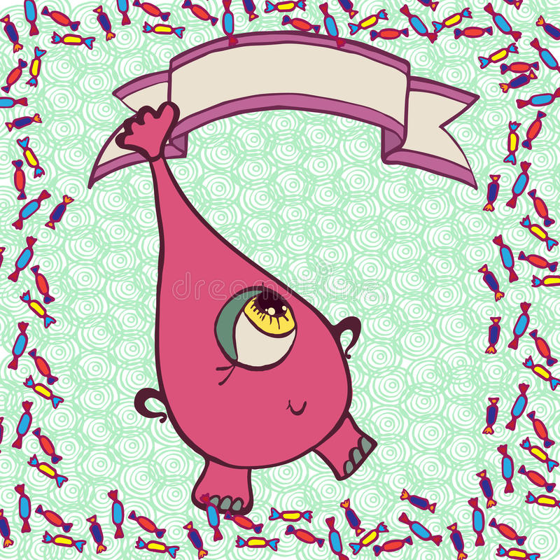 Roze grappig monster in suikergoed stock illustratie